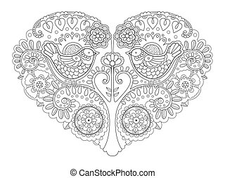 Heart design coloring book vector illustration