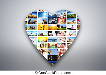Heart design element made of pictures of people, animals and places
