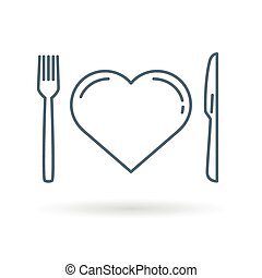 Heart diet icon on white background