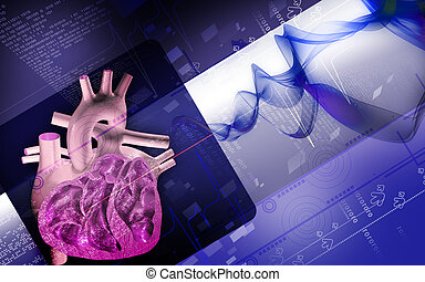 Heart - Digital illustration of heart in colour background