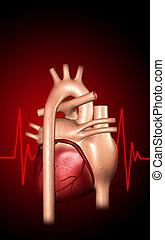 Heart - Digital illustration of heart in colour background...