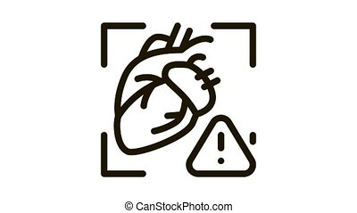 heart disease attention Icon Animation. black heart disease attention animated icon on white background