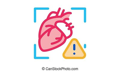 heart disease attention Icon Animation. color heart disease attention animated icon on white background