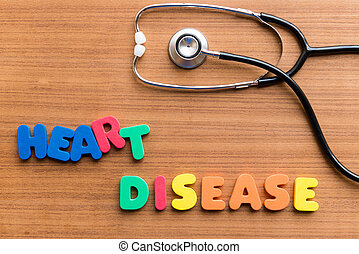 heart disease colorful word on the wooden background