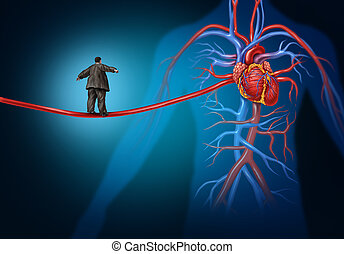 Risk factors for heart disease danger as a medical health care lifestyle concept with an overweight person walking on an elongated artery highwire as a symbol for coronary illness hazard or high blood pressure.