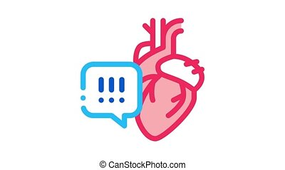 heart disease exclamation mark Icon Animation. color heart disease exclamation mark animated icon on white background