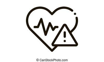 Heart Disease Icon Animation. black Heart Disease animated icon on white background