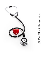 heart disease - Stethoscope and red heart, heart disease