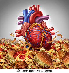 Heart disease risk symbol and health care and nutrition concept as a human cardiovascular organ drowning in an ocean of greasy high salt unhealthy fast food as a symbol dangerouse artery clogging cholesterol crisis.