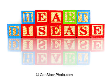 heart disease words reflection on white background