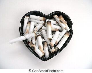 Heart Disease - Ashtray with Cigarettes