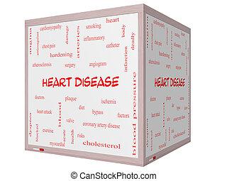 Heart Disease Word Cloud Concept on a 3D cube Whiteboard