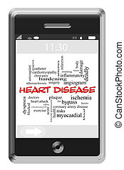 Heart Disease Word Cloud Concept on a Touchscreen Phone