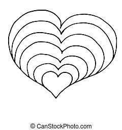 Heart doodle icon. Hand drawn outline symbol. Vector icon isolated on white background.