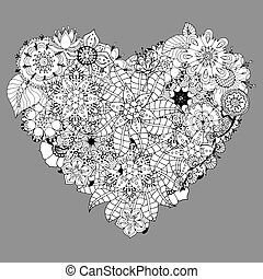 Heart doodle - Hand drawn Heart doodle background. Vector...