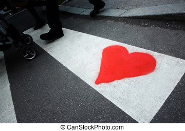Heart drawing on pedestrian crossing - A drawing of a heart...