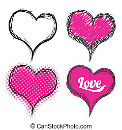 Heart drawing set