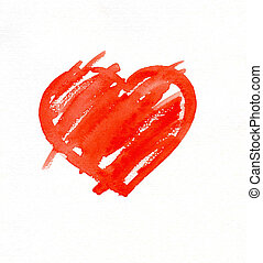 Heart - Red heart isolated on white background watercolor...
