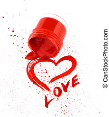 Heart drawn by a red paint