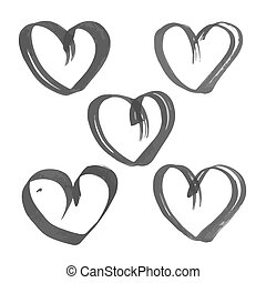 Heart drawn flat brush ink on the white paper