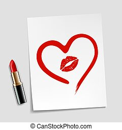 heart drawn in lipstick and lip imprint