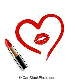 heart drawn in lipstick and lip imprint