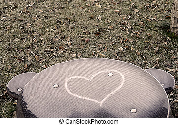 Heart drawn on frozen child table
