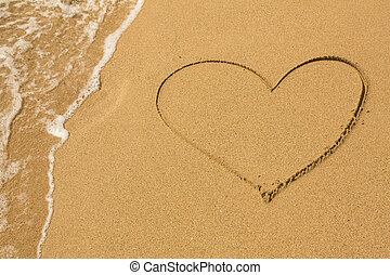 Heart drawn on the beach sand
