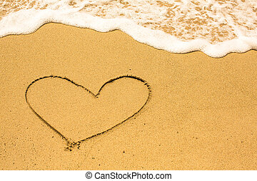Heart drawn on the sand of a sea