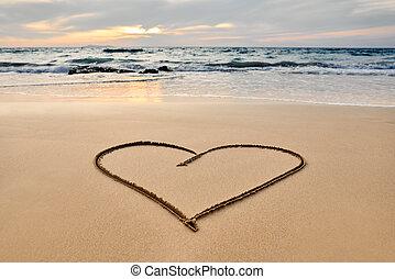 Heart drawn on the tropical beach