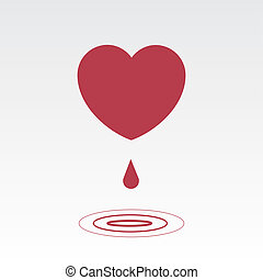 Large heart dripping with ripples