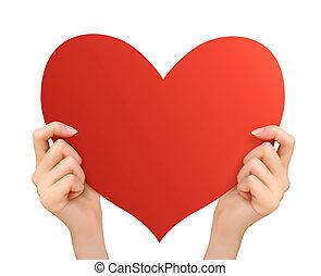 heart., due, vettore, tenere mani, rosso