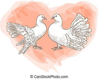 heart., dvojice, -, holub, láska, znak, červeň