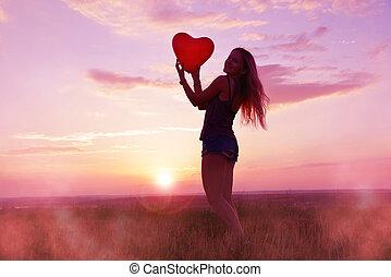 heart., dzierżawa, balloon, formułować, ładna dziewczyna, czerwony
