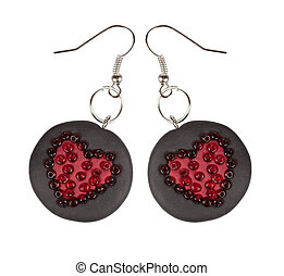 Heart earrings from polymer clay and beads. Gift for Valentine's Day. Isolated on a white background. Collage.