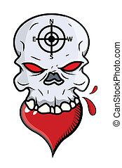Heart Eating Skull - Vector Cartoon