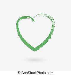 heart., elemento, ideas., vettore, disegno, grunge, verde, creativo, tuo