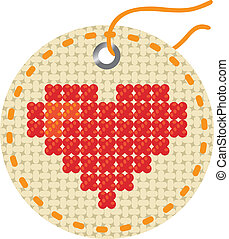Heart, embroidered  on a round piece of cloth.