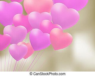 heart., eps, forme, 8, ballons, rouges, gel