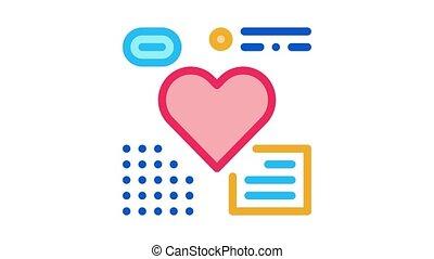 heart examination Icon Animation. color heart examination animated icon on white background