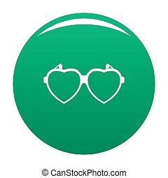 Heart eyeglasses icon green