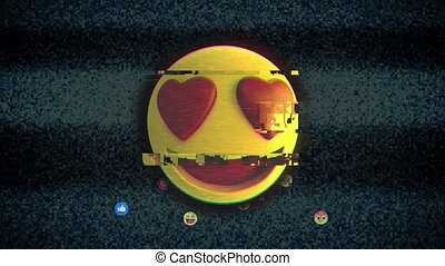 Animation of yellow digital emoji icon over floating digital emoji icons on the dark background. Social networking global connections concept digitally generated image.