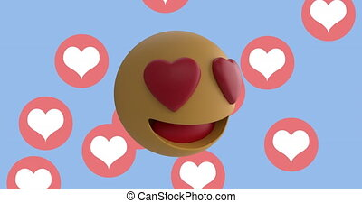 Animation of multiple heart eyes face emoji against heart icons floating on blue background. Global social media network concept digitally generated image.