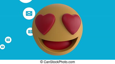 Animation of heart eyes face emoji against multiple message icons floating on blue background. Happy Valentines Day celebration concept digitally generated image.