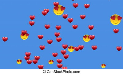 Animation of multiple heart eyes face emoji and heart icons floating against blue background. Global social media network concept digitally generated image.