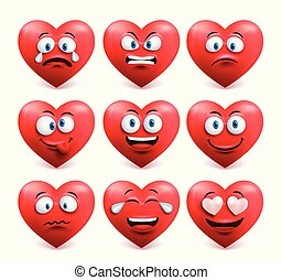 Heart face vector set in red color with funny facial expression