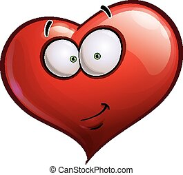 Cartoon Illustration of a Heart Face Emoticon with a smirk. EPS-10 file; move the eyes to change the expression.