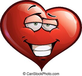 Heart Faces - Smug - Cartoon Illustration of a smug Heart...