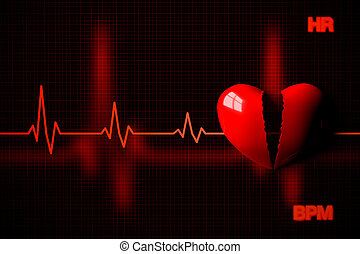Heart Failure Concept Illustrated by Broken Heart, 3D...