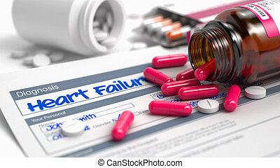 Heart Failure - Phrase in Disease Extract. 3D Illustration....